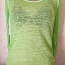 Women's Jrs. AEROPOSTALE Sheer Burnout Lime Long Sleeve Layer Top Blouse S/P