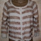 NWT! Women's ARIZONA JEAN CO Striped Sweater L Cardigan LS Beige Ivory Long Hair