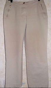 "Women's Beige Stretch Pants VANILIA Size 42 30"" W x 29"" L Cotton Blend Flat"