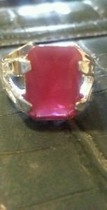 BRAND NEW STATEMENT SIZE 7 FASHION JEWELRY NEW FIRE RUBY GEM SILVER PLATED RING