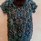 Women's GREAT NORTHWEST S  boho blouse teal multi color 100% cotton casual