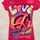"Jrs. RUE21 Pink Short Sleeve T Shirt LOVE & PEACE Airbrushed Graphic 16"" across"