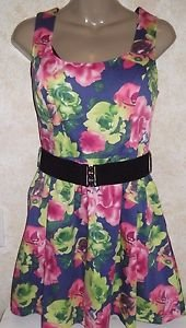 Papaya girls medium dress sleeveless multi-color halter style belted floral