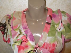 Women's crinkle floral button blouse S ruffle tie flutter sleeve mult East 5th
