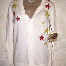 NWT! Women's PRINCESS VERA WANG Ivory Cardigan Stars Sz Small Thin Knit Sweater