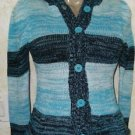 New! Girls Dollhouse L/14-16 Hooded Acrylic Button Striped Aqua Teal Sweater