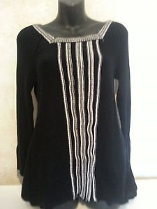RXB sz M Black Sweater Top Contrast Stitch Detail Woven Pattern Cotton/Acrylic