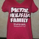 New!! Women's Hot Pink Vneck METAL MULISHA FAMILY FOREVER-Born to Ride M Tshirt