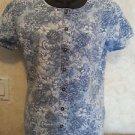 Liz Wear Blouse L Multi-Color Casual 100% Cotton Button Down Blouse Floral
