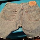 "Original 501 Button Fly Levi 34"" W Denim Cut Off Shorts Jeans EUC"