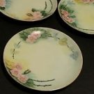 3 small signed floral collectible plates gold trim by WILSON vintage antique