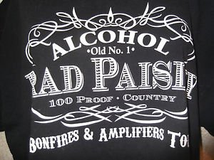 BRAD PAISLEY CONCERT T-SHIRT ALCOHOL BONFIRES AND AMPLIFIERS TOUR SIZE XL BLACK