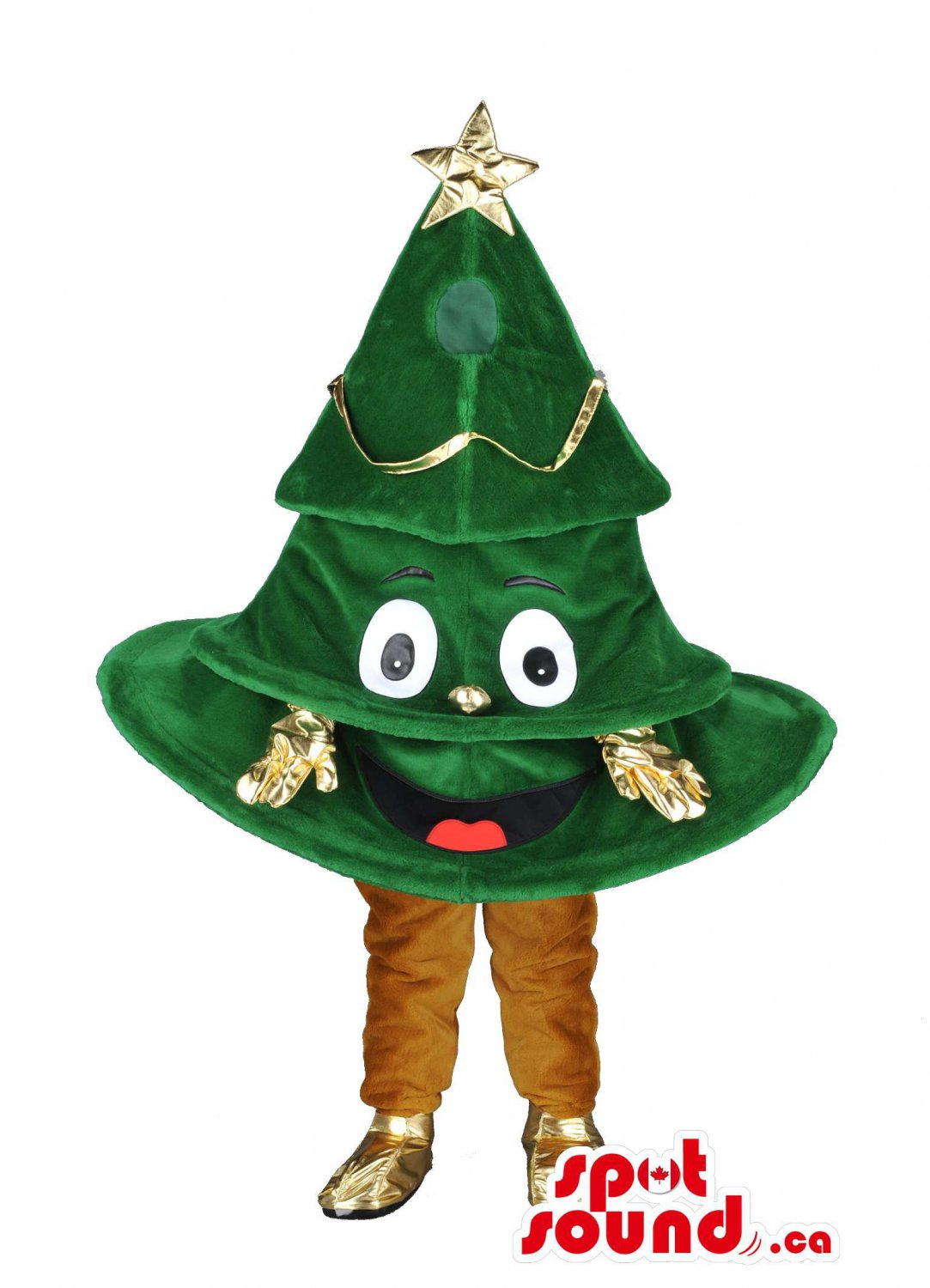 Shinny Golden Christmas Tree Mascot SpotSound Canada With Shoes And Gloves