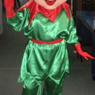 A Green And Red Elf In A Hat, Pointy Shoes And Large Ears