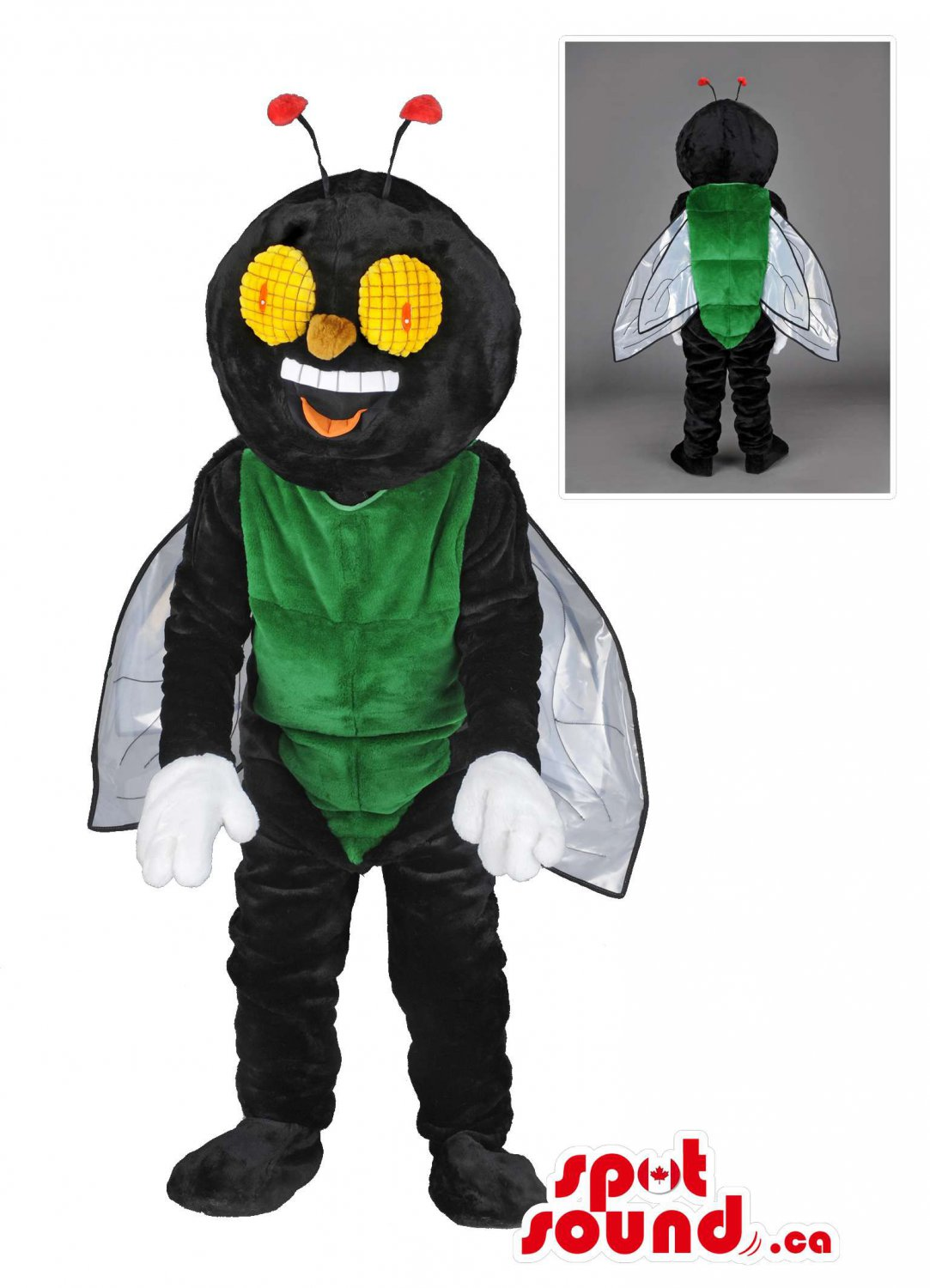 Black And Green Fly Mascot SpotSound Canada With Wings And Large Yellow Eyes