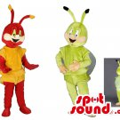 Red And Green Bugs Couple Mascot SpotSound Canadas With Wings And Antennae
