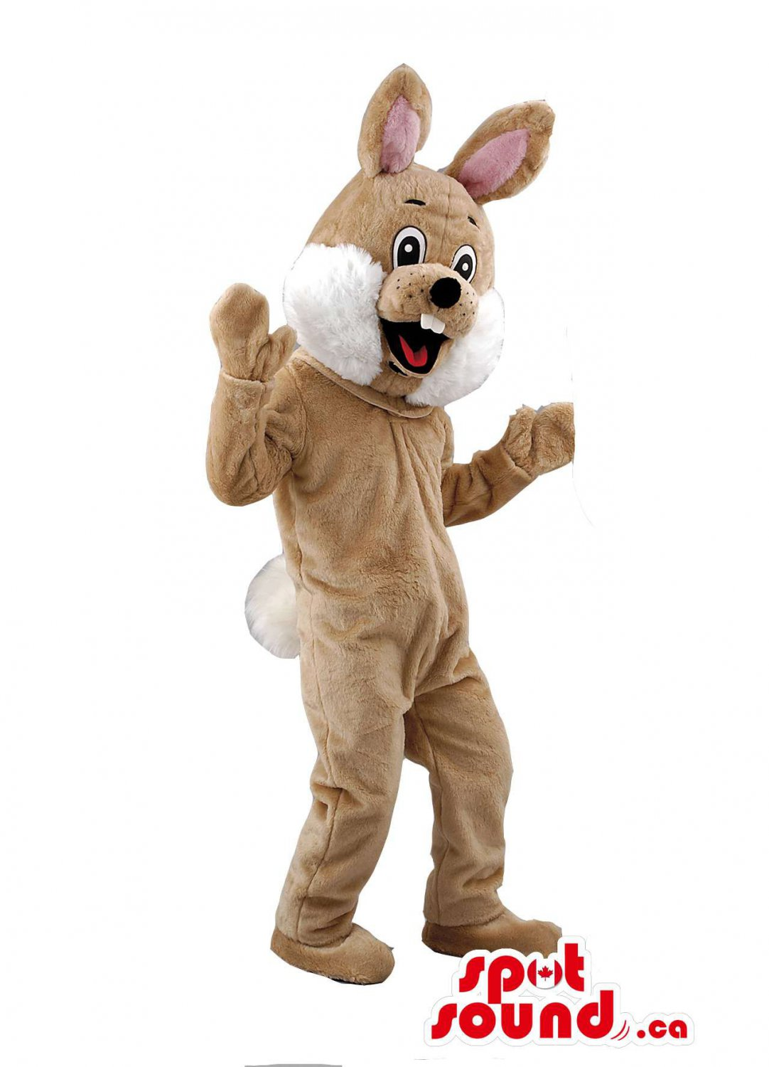 Brown Rabbit Mascot SpotSound Canada With Teeth And With A Round Tail