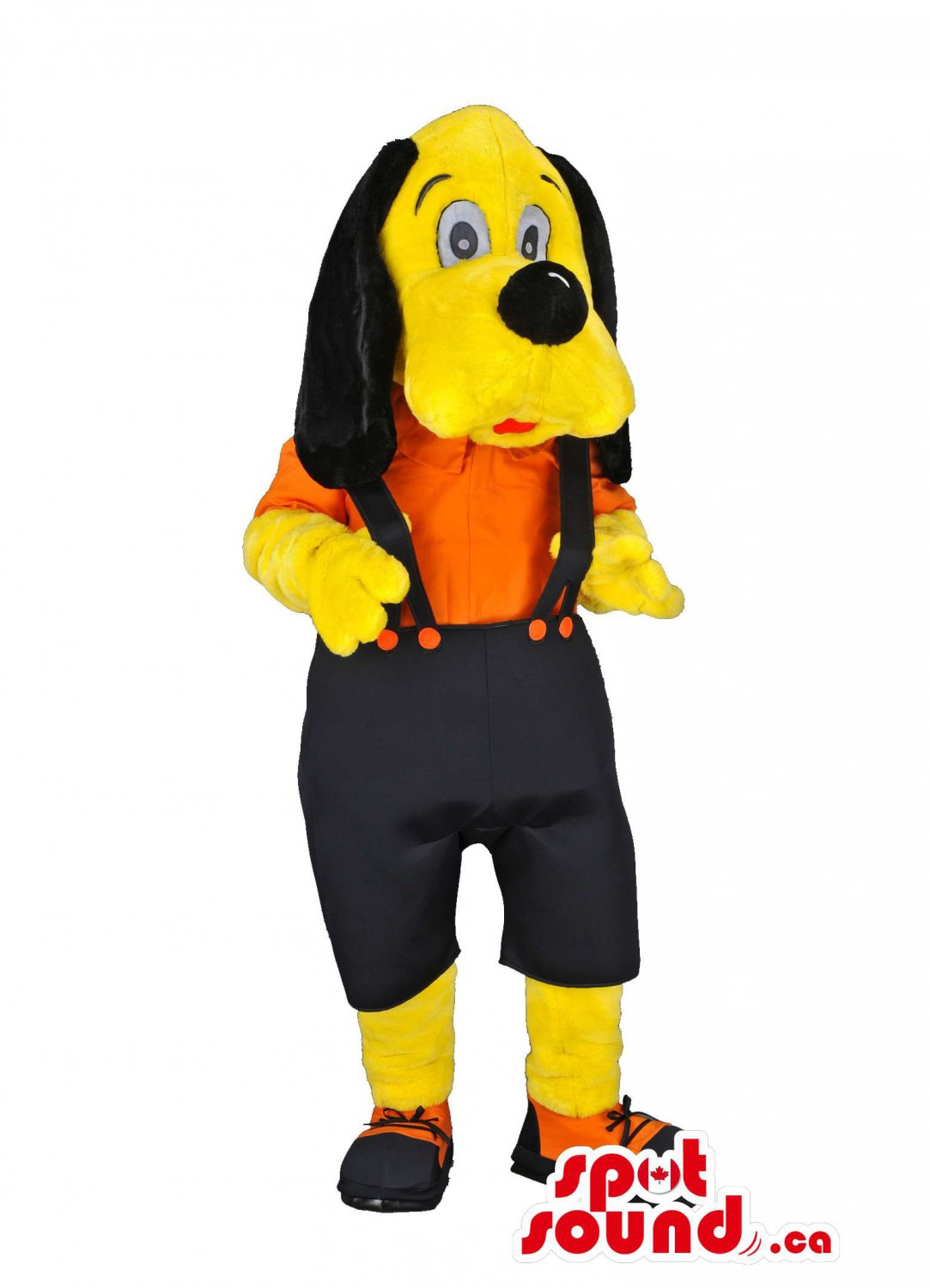 Yellow Dog In Black Pants With Suspenders And Orange Shirt