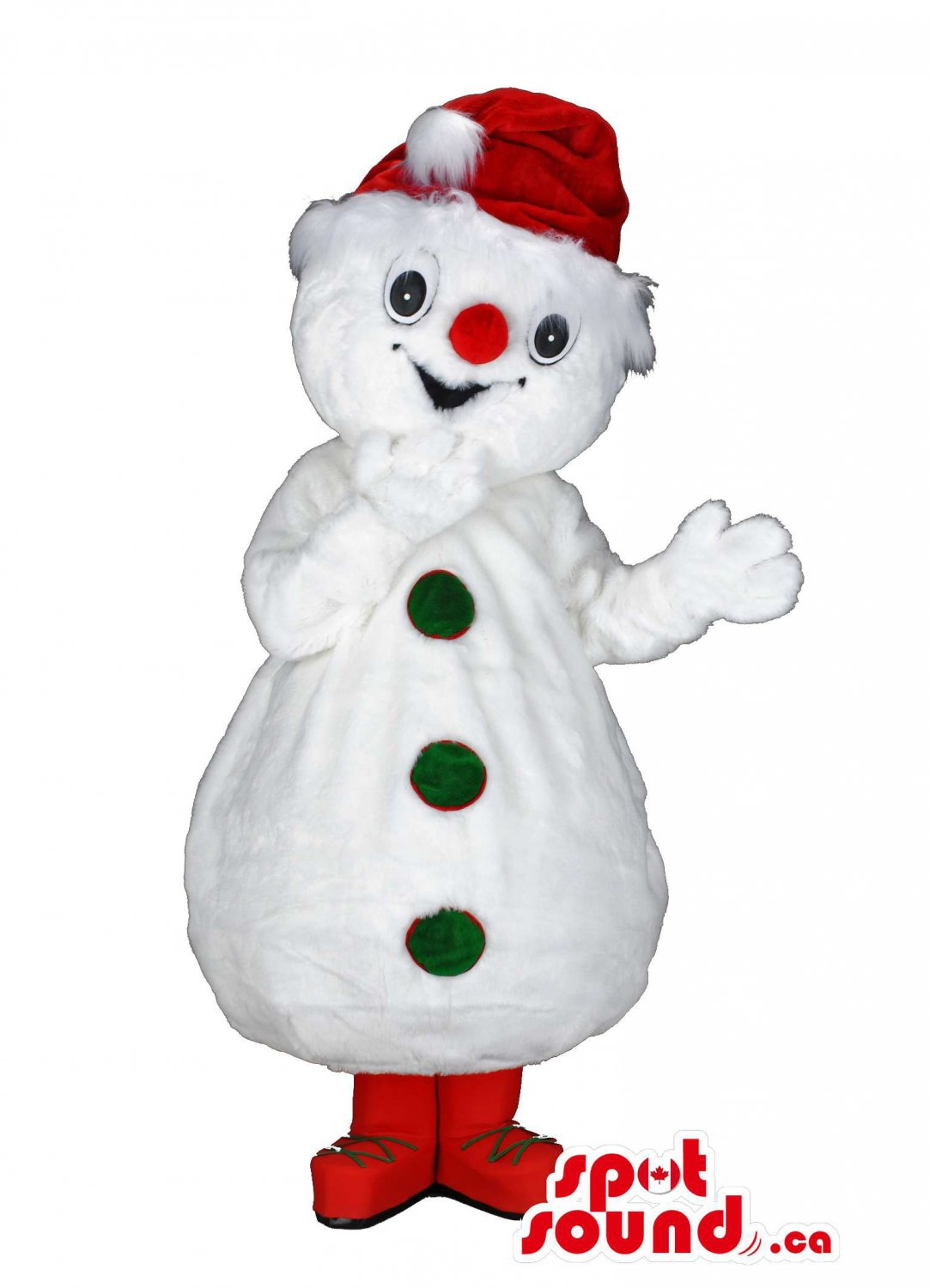 Snowman Mascot SpotSound Canada With Christmas Hat And Red Shoes And Nose