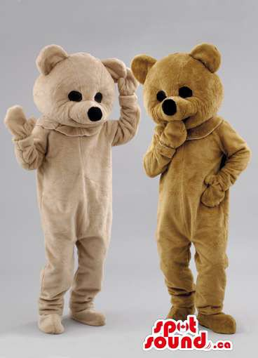 Brown Teddy Bear Couple Animal Mascot SpotSound Canada With Black Nose And Eyes