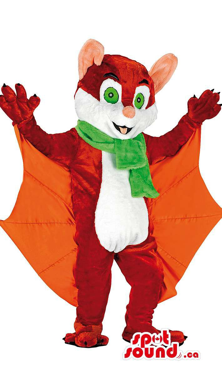 Brown Bat Mascot SpotSound Canada With Green Scarf And Orange Wings