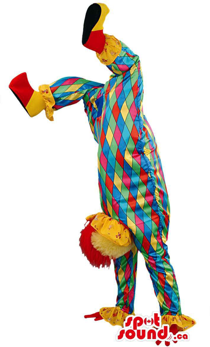 Clown Mascot SpotSound Canada With Colourful Diamond Gear And Wig