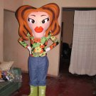 Lady Mascot SpotSound Canada With Large Face, Lips And Brown Hairstyle And Boots