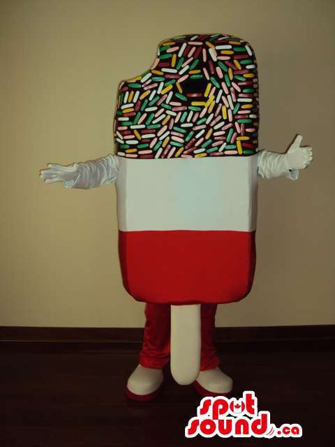 Ice-Cream Mascot SpotSound Canada With Three Colors And Flavours And Frosting
