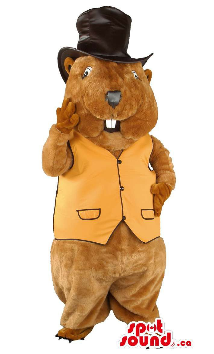 Brown Groundhog Animal Mascot SpotSound Canada With Black Top Hat And Yellow Vest