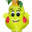 Lemon Fruit Mascot SpotSound Canada With Red Cheeks And Large Eyes And Leaves