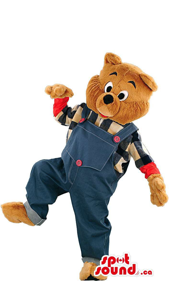 Brown Teddy Bear Mascot SpotSound Canada With Blue Overalls And Shirt