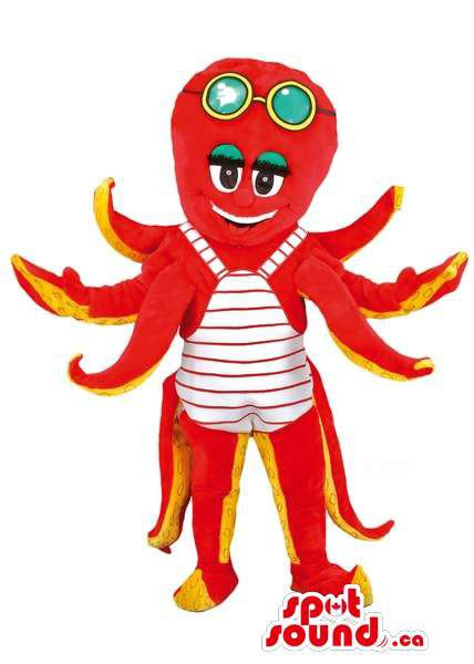 Red And Yellow Octopus Mascot SpotSound Canada With Swimming Glasses