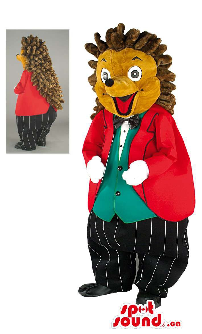 Brown Hedgehog Mascot SpotSound Canada With Red Jacket, Pants And Vest