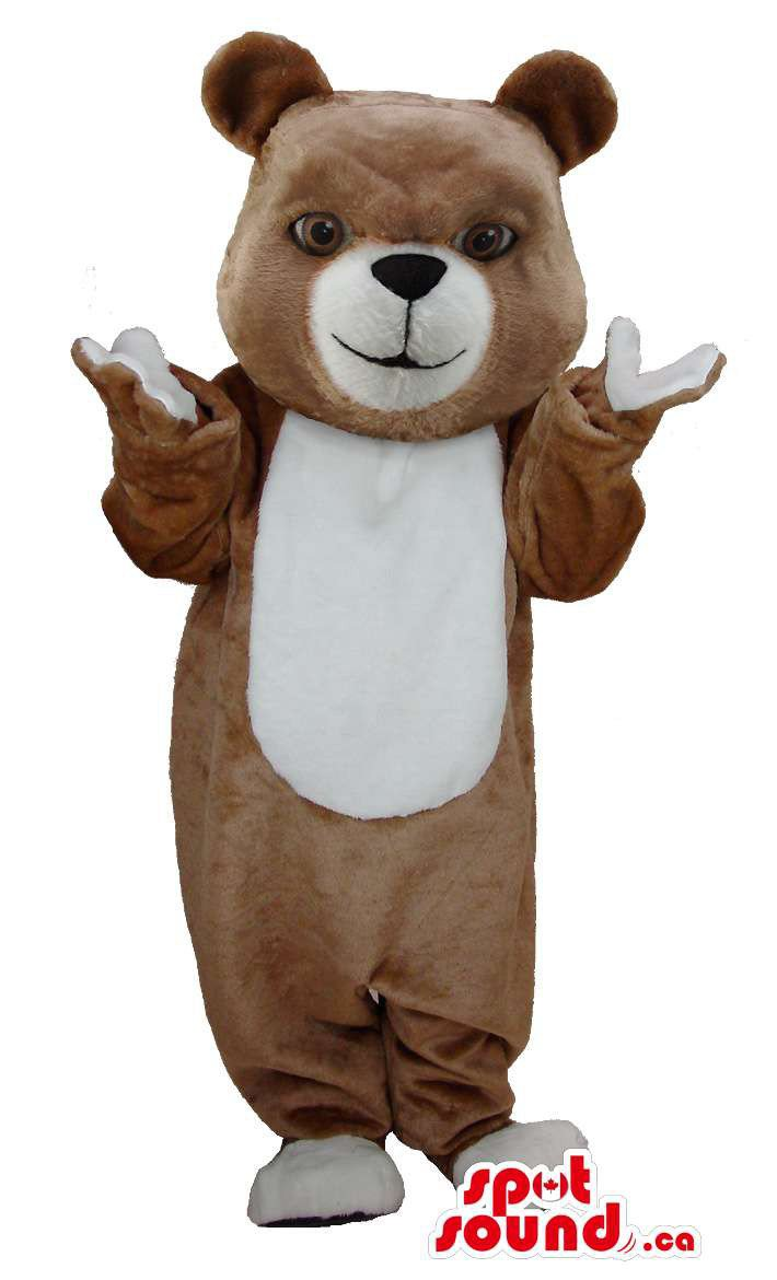 Brown Teddy Bear Mascot SpotSound Canada With White Belly And Mouth