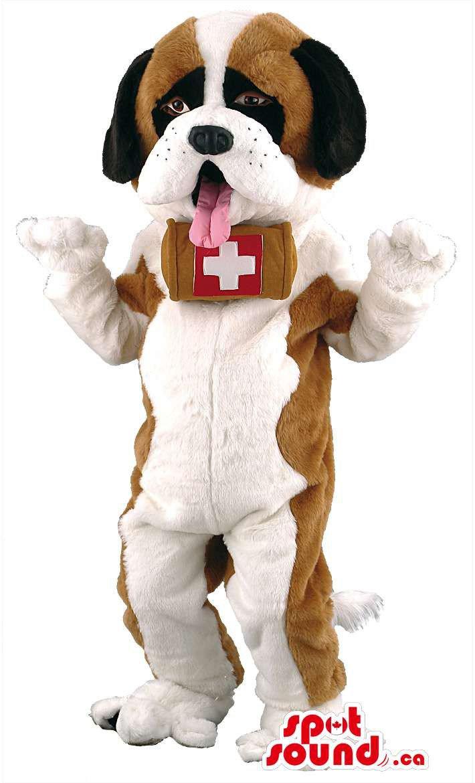 Saint Bernard Dog Mascot SpotSound Canada With Barrel And Tongue
