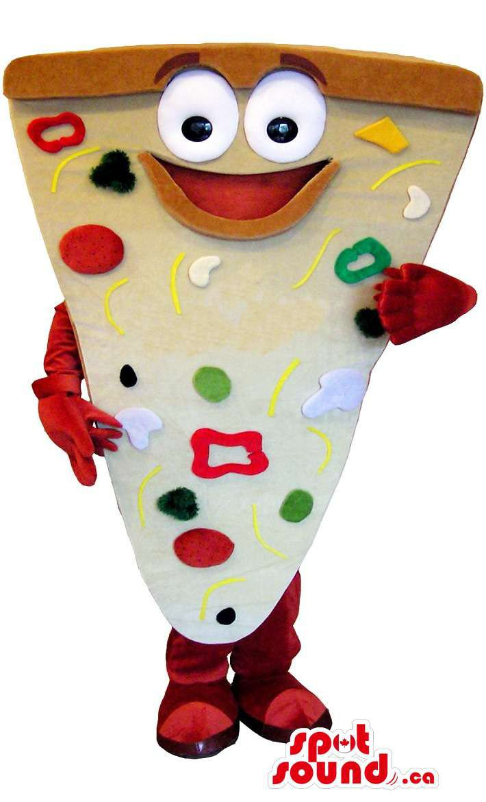 Pizza Slice Mascot SpotSound Canada With Ingredients And Large Eyes And Mouth