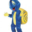 Blue Snail Mascot SpotSound Canada With A Yellow Tie And Shell And Antennae