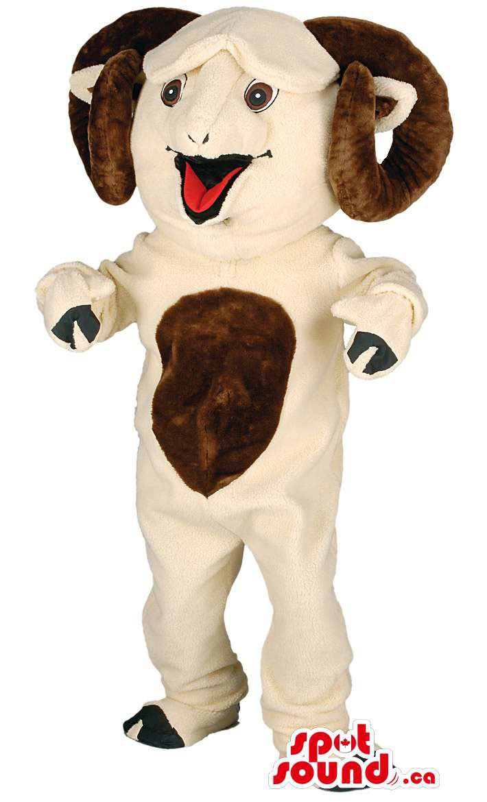 Beige Male Sheep Animal Mascot SpotSound Canada With Curled Brown Horns