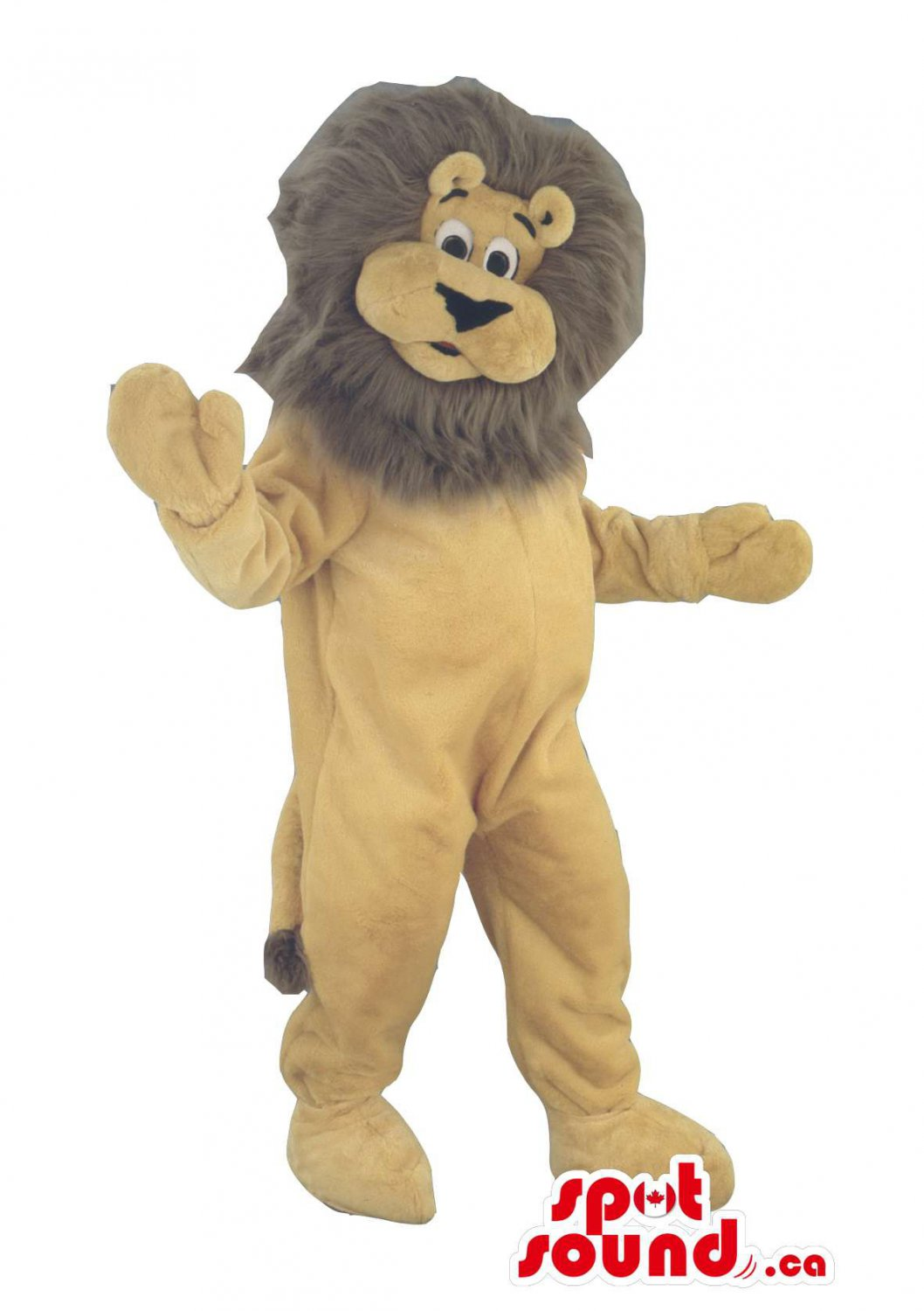 Lion Animal Plush Mascot SpotSound Canada With Brown Hair And A Beige Body