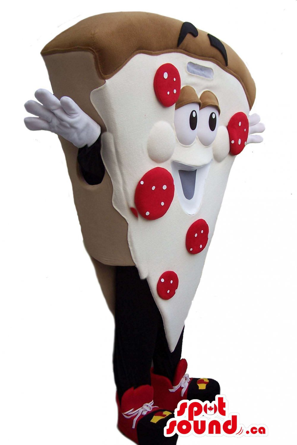 Pizza Slice Mascot SpotSound Canada With Pepperoni And Large Eyes And Mouth