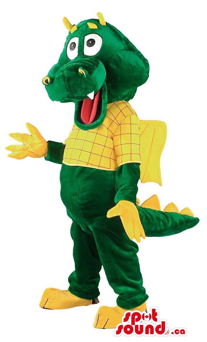 Green And Yellow Dragon Mascot SpotSound Canada With Tail And Horns