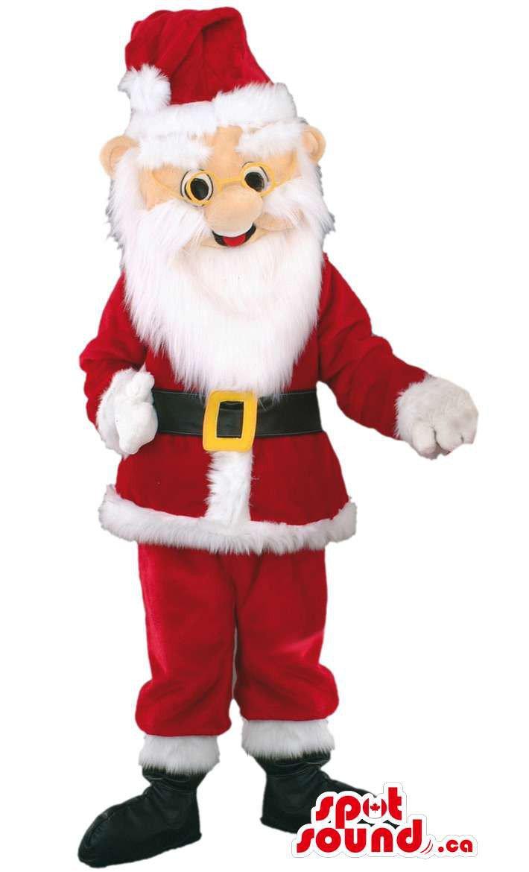 Santa Claus Human Plush Mascot SpotSound Canada With Christmas Clothes