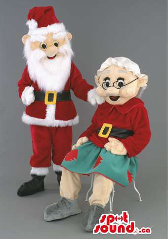 Grandmother And Santa Claus Mascot SpotSound Canadas With Green And Red Clothes