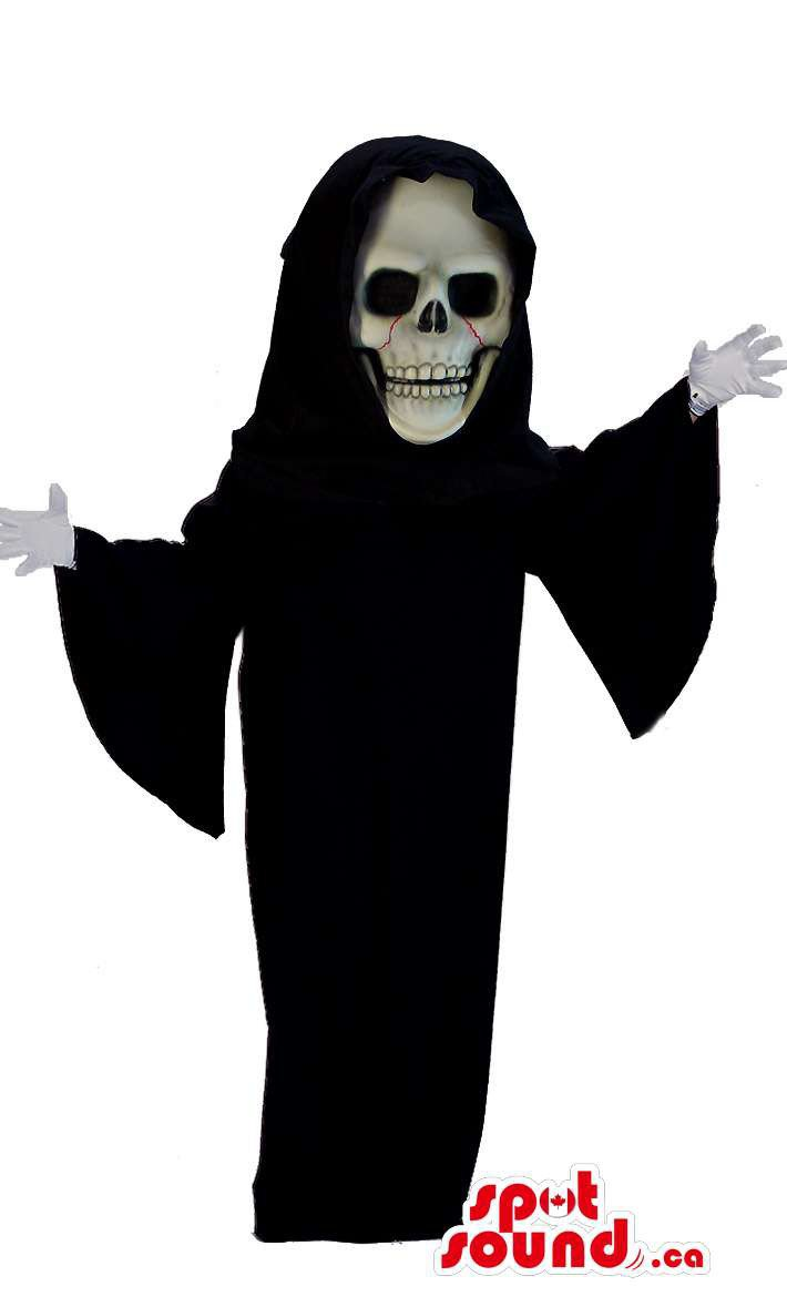 Death Halloween Mascot SpotSound Canada With Black Dress And Scary Skull Face