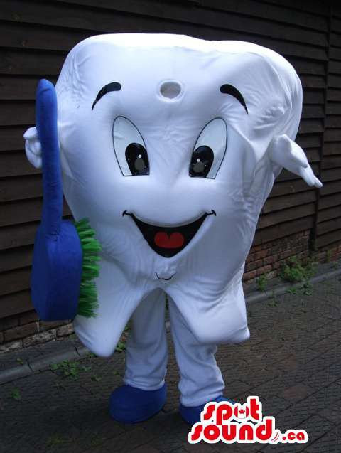 White Large Tooth Mascot SpotSound Canada With Blue And Green Toothbrush