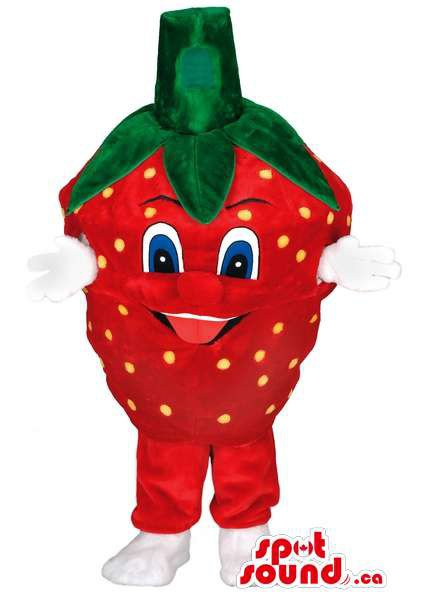 Strawberry Fruit Mascot SpotSound Canada With Blue Eyes And White Hands