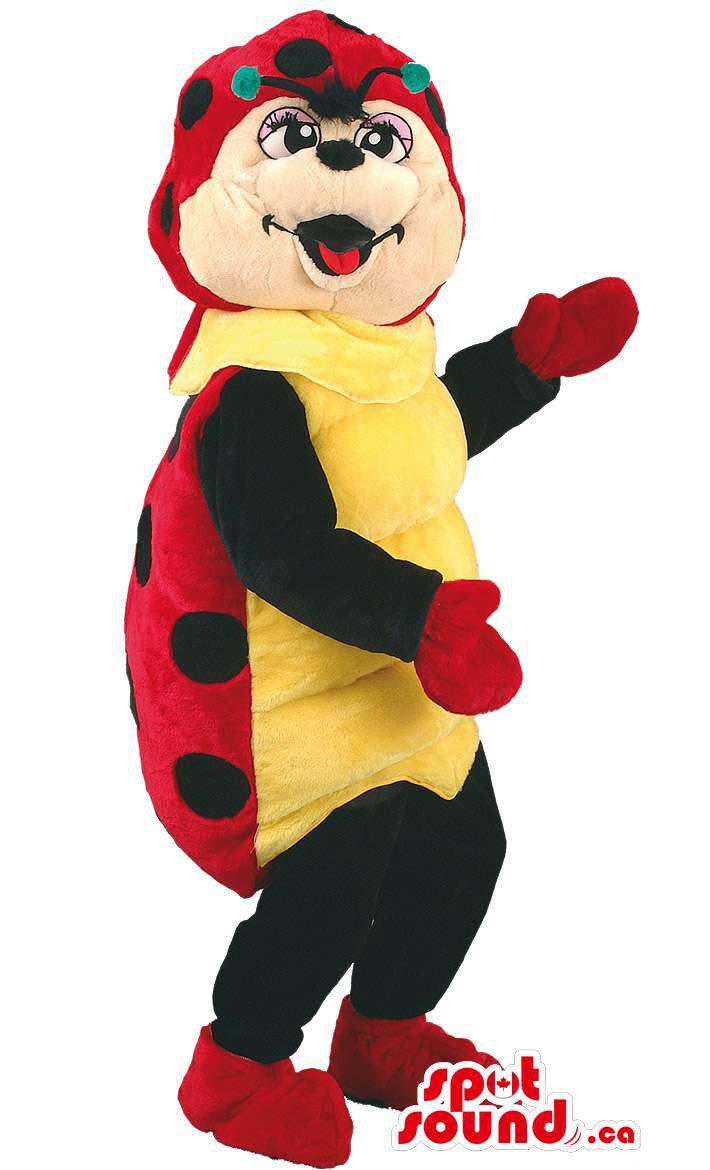Ladybird Insect Mascot SpotSound Canada With Green Antennae And Yellow Belly