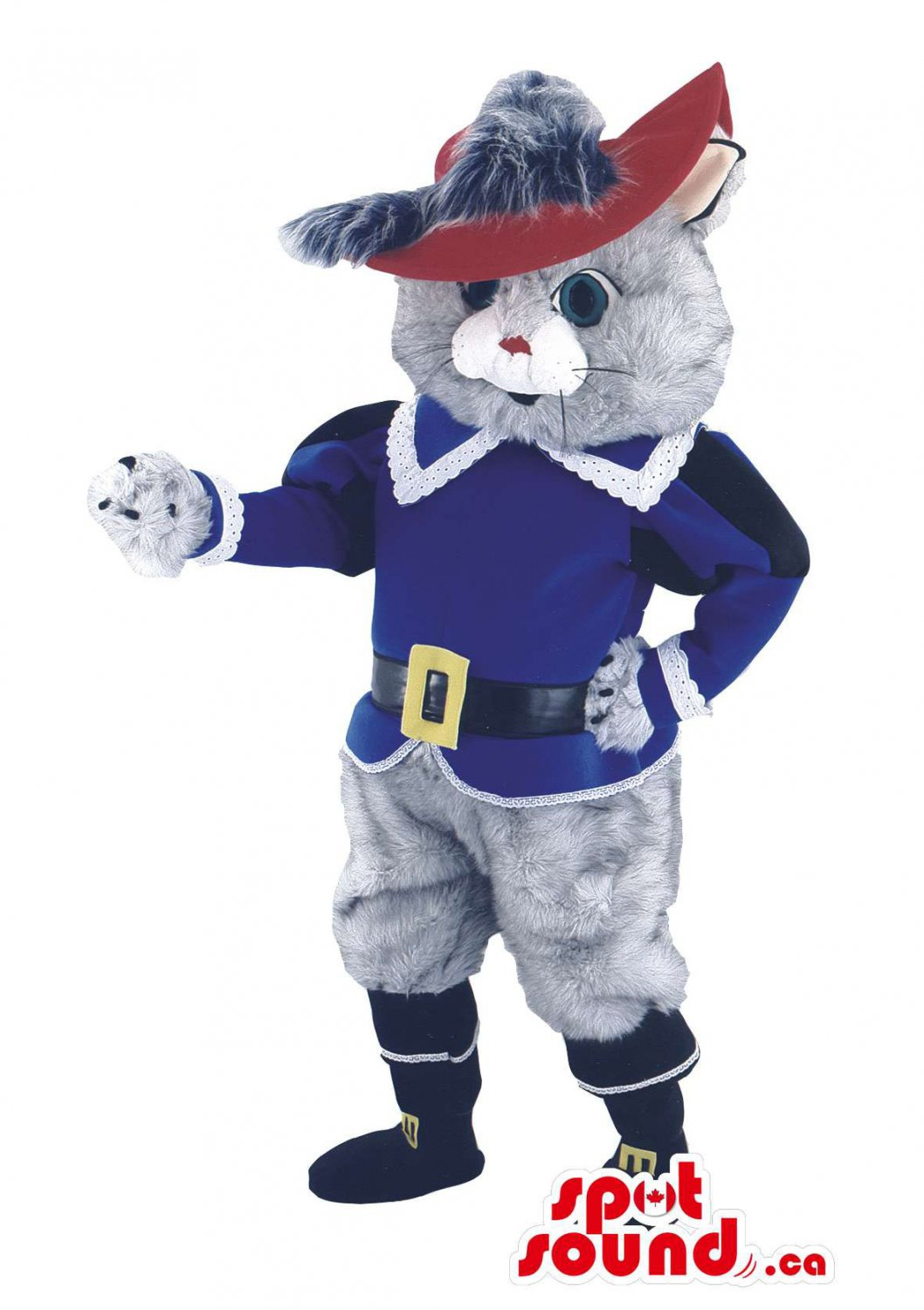 Cat In Boots Mascot SpotSound Canada Children'S Story Character With Red Hat