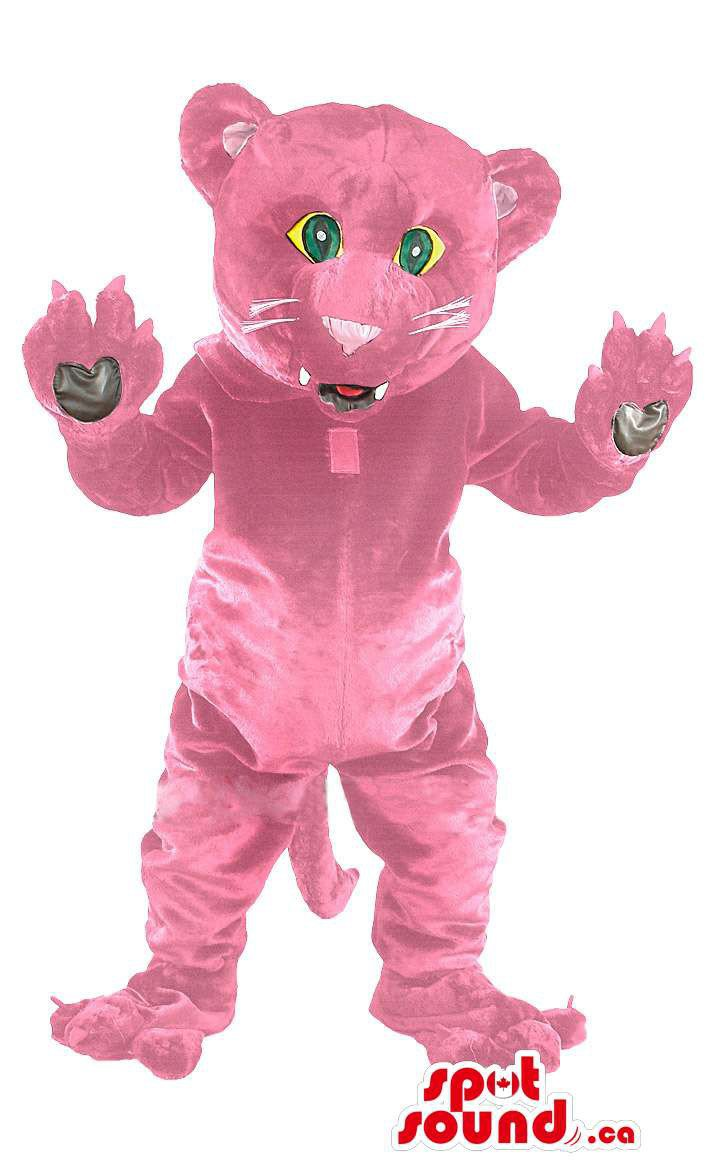Pink Panther Animal Mascot SpotSound Canada With Tail And Green Eyes