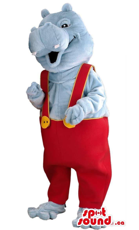 Grey Hippopotamus Boy Mascot SpotSound Canada With Customised Gear